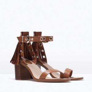 Zara Brown Leather Fringe Grommet Strappy Sandals